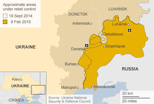 MAPA: Línea de combate durante los acuerdos de Minsk I (19 de septiembre) y Misk II (hoy)