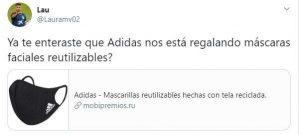 Mascarillas Adidas gratis como reclamo para despellejarte
