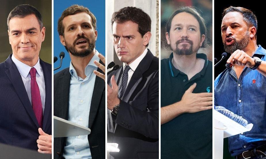 Pedro Sánchez, Pablo Casado, Albert Rivera, Pablo Iglesias y Santiago Abascal. E.P.