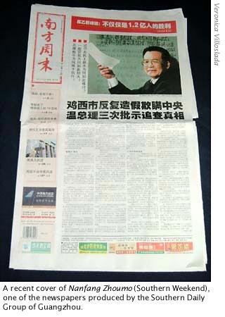 portada del Nanfang Zhoumo, uno de los diarios más criticos con el gobierno chino, se edita en Cantón