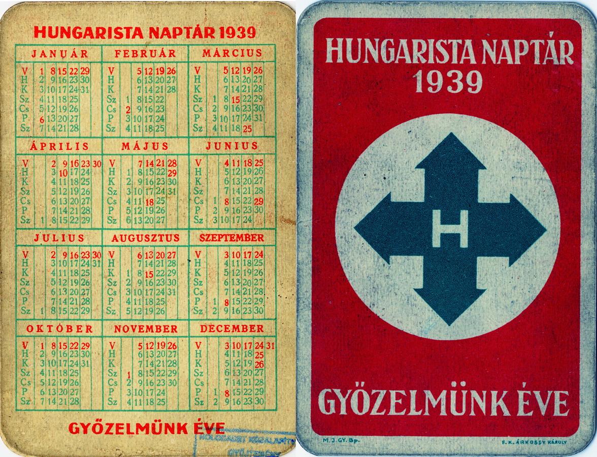Calendario original del Partido de la Cruz Flechada que forma parte de la colección permanente del Museo del Holocausto de Budapest (Hungría). Imagen extraída de http://hdke.hu/en/galleries/gyujtemeny-1/collection-objects