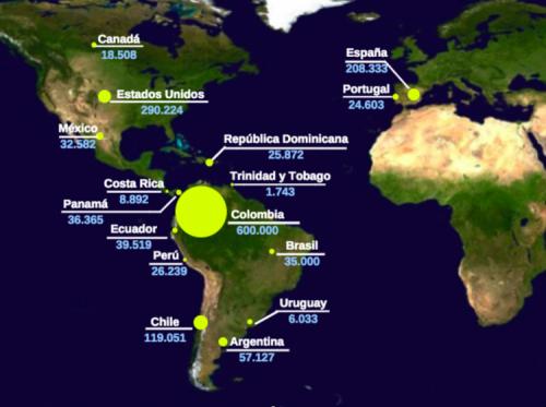 Registro de venezolanos en el mundo según el informe OIM de abril, 2018 (cifras aproximadas).