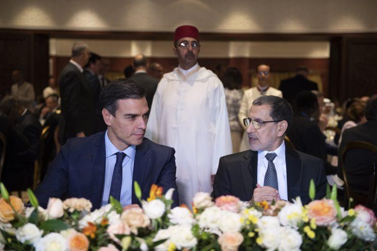 El presidente Pedro Sánchez con el primer ministro de Marruecos, Saadeddine Othamani, en la Cumbre mundial sobre migraciones de Marrakech. Foto: Moncloa / Borja Puig de la Bellacasa.