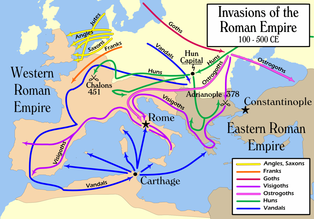 Invasion del Imperio Romano. Imagen de MapMaster - Own work, CC BY-SA 2.5, https://commons.wikimedia.org/w/index.php?curid=1234669