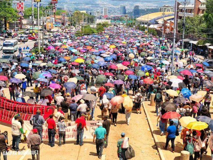 Manifestación en Tegucigalpa (Honduras) por la defensa de la salud y la educación pública. Foto: Gaspar Rodríguez.