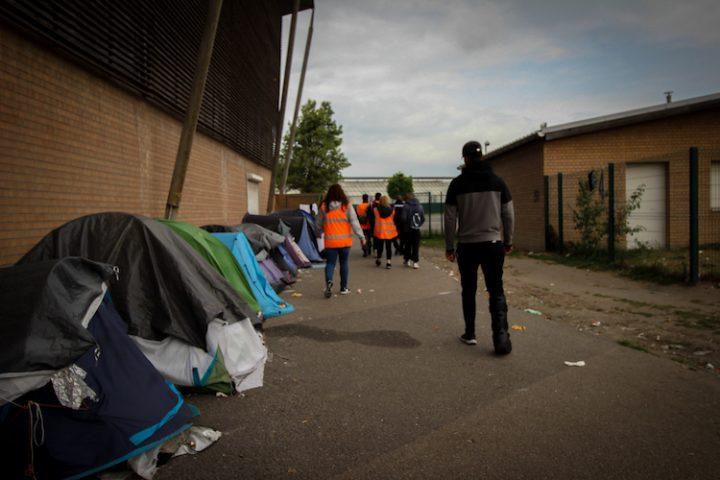 Asentamiento ofrecido por el Gobierno local en Dunkerque. Foto: Sabela González, Nicolás Domínguez