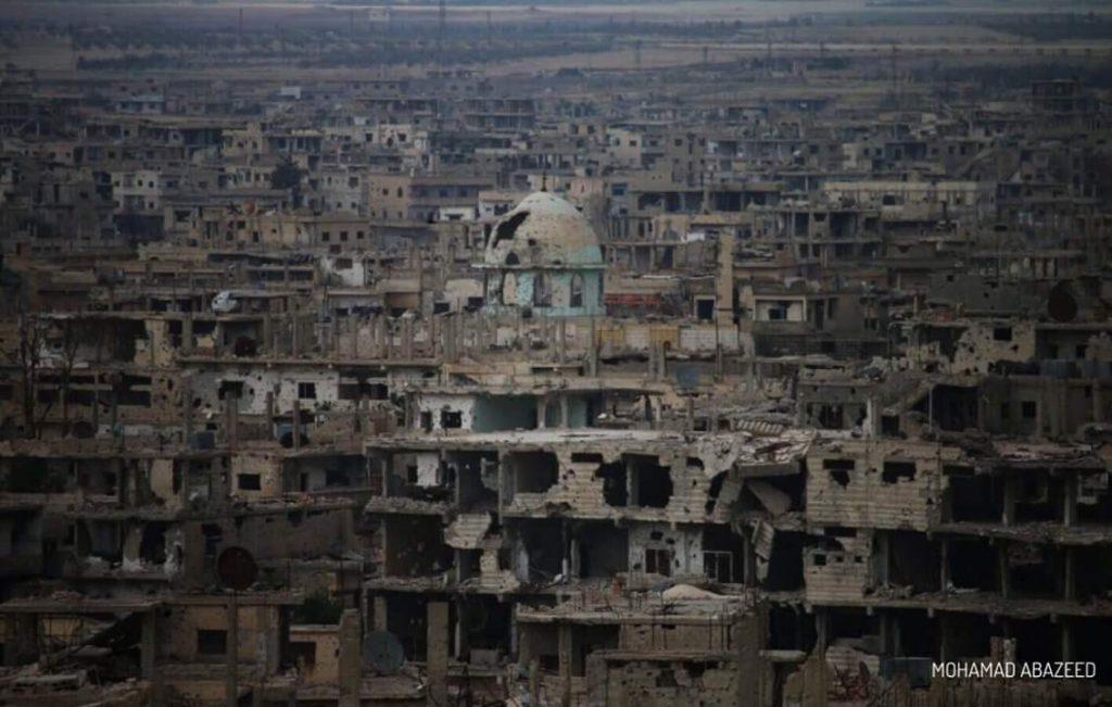 La ciudad de Daraa bombardeada. Foto: Mohamad Abazeed