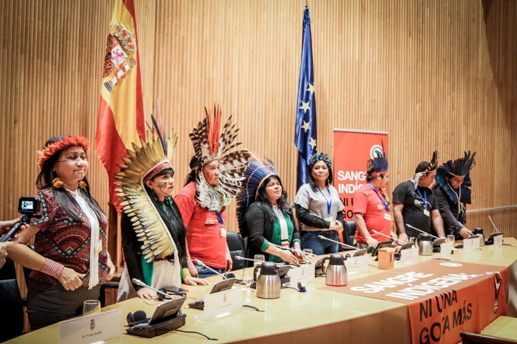 Miembros de la campaña 'Ni una gota más' en el Congreso. Foto: Mídia Índia.