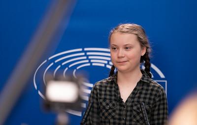 Greta Thunberg at the Parliament. CC European Parliament from EU
