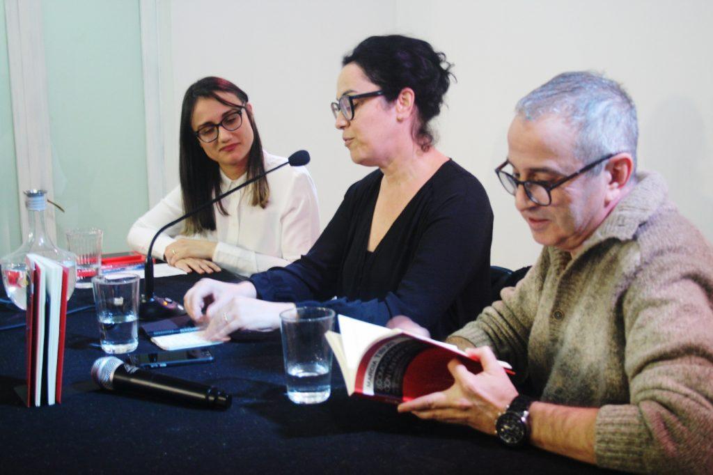 Natalia Oliveira, Marcia Tiburi Jesús Espino Nuño. Fotografía de Coco Vecino