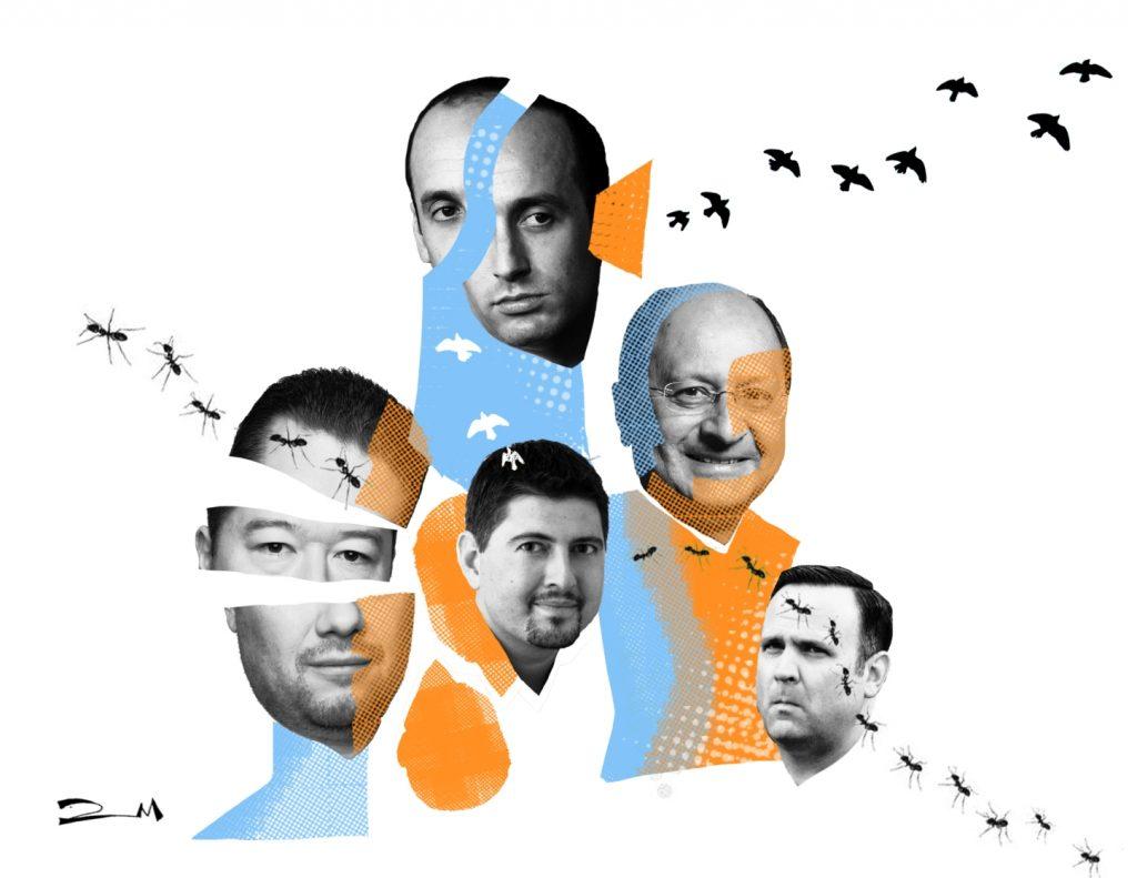 Miller, Okamura, Szeguedi, Vara y Scavino / Ilustración de Diana Moreno