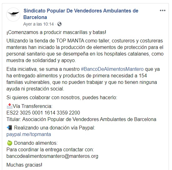 Captura de pantalla del perfil de Facebook del Sindicato de Vendedores Ambulantes de Barcelona