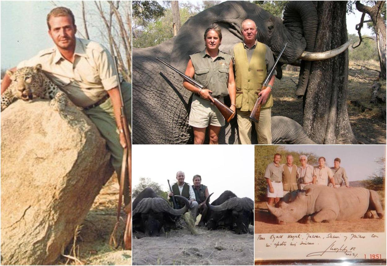 Diferentes imágenes del rey Juan Carlos I con las piezas abatidas en sus sesiones de caza.