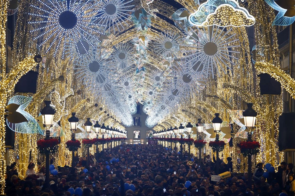 Encendido de las luces de Navidad en Málaga. E.P./Álex Zea