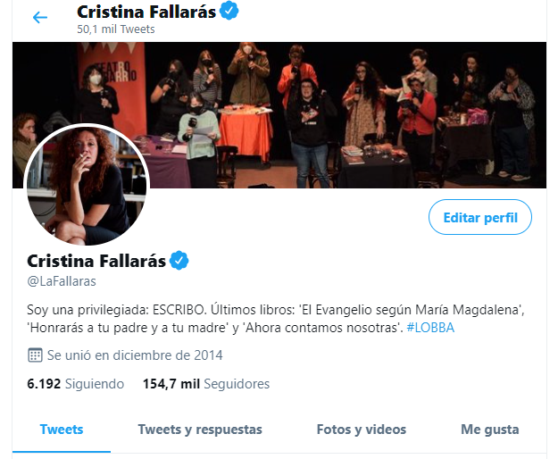 Perfil de Twitter de Cristina Fallarás