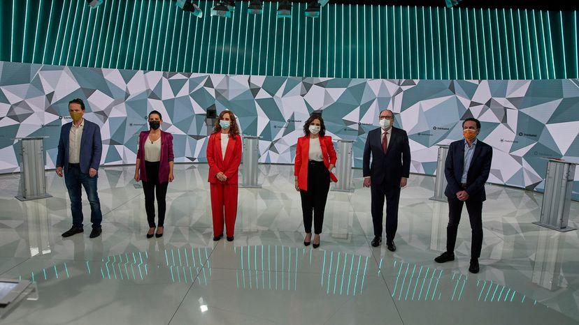 Candidatos a la presidencia de la Comunidad de Madrid en el debate de Telemadrid