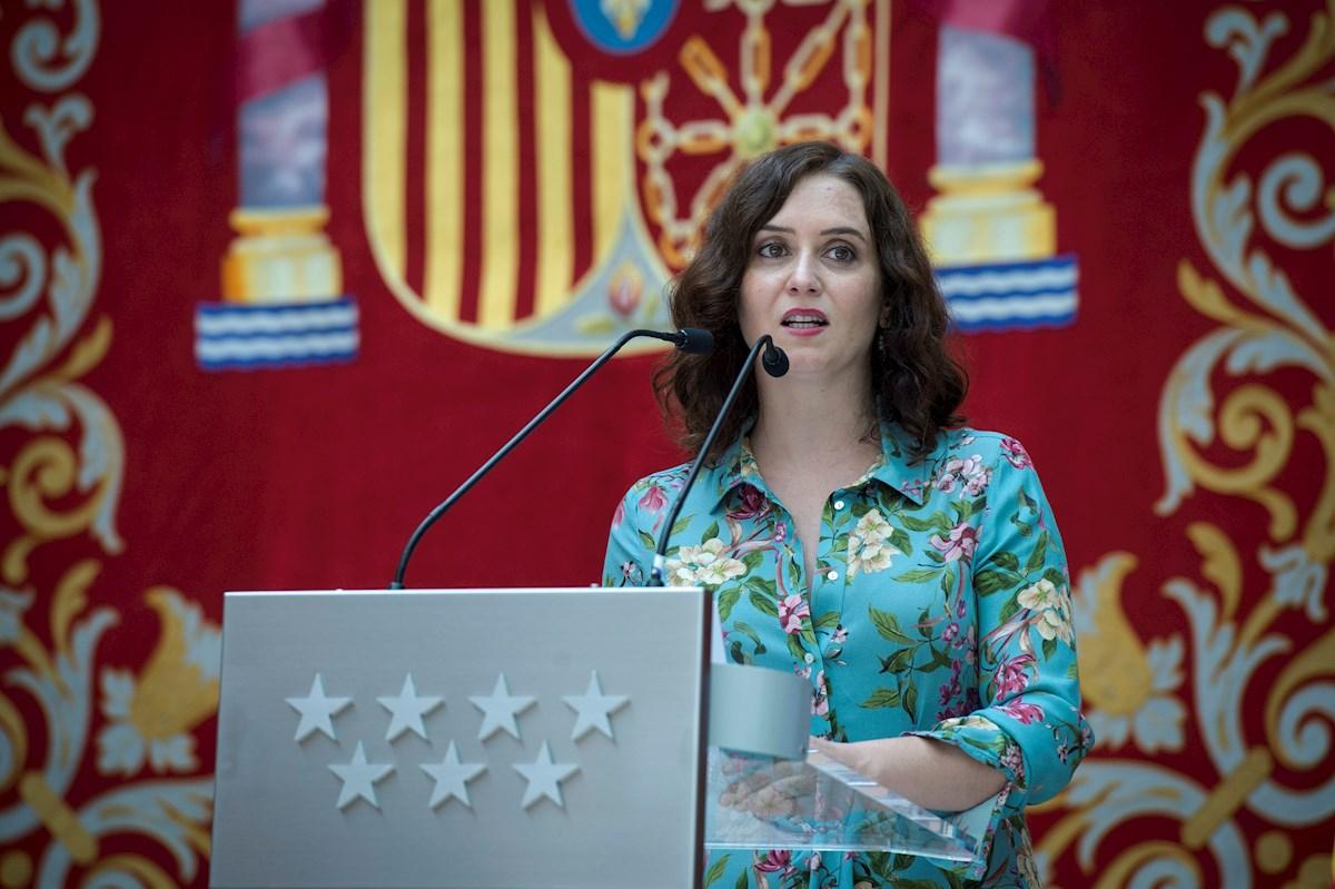 La presidenta de la Comunidad de Madrid, Isabel Díaz Ayuso, durante una rueda de prensa. - EFE
