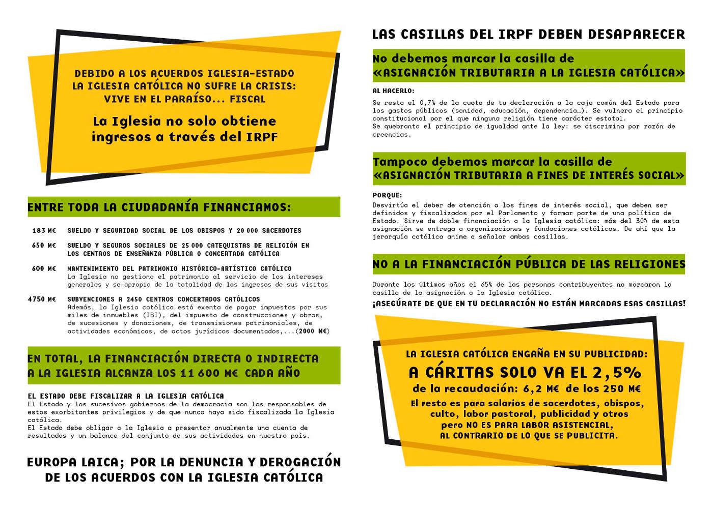 Imagen de la campaña de Europa Laica pidiendo que en la declaración de la renta no marquemos ninguna de las dos casillas que nos ofrece el impreso del IRPF.