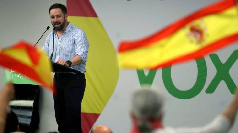 El presidente de Vox, Santiago Abascal, en un mitin de la formaci´pon ultra. EFE