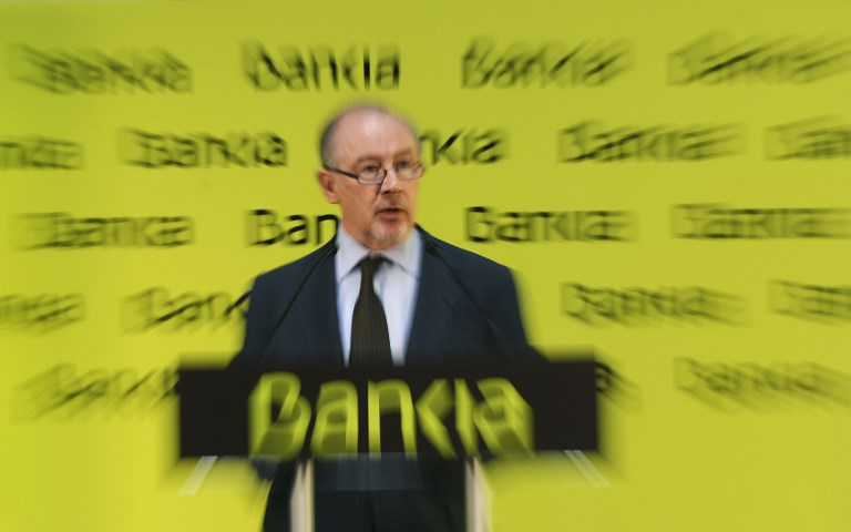 Rodrigo Rato, entonces presidente de Bankia, en una intervención tras el comienzo de la cotización del banco en Bolsa, el 20 de julio de 2011. AFP/Pierre-Philippe Marcou