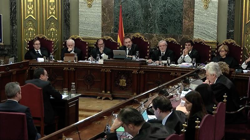 """Captura de la señal institucional del Tribunal Supremo, durante la declaración del exconseller de Territori, Josep Rull, en el juicio del """"procés"""". EFE/Tribunal Supremo"""