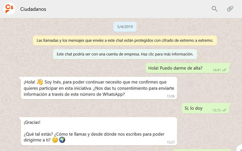 Pantalla de inicio del canal de Whatsapp de Ciudadanos