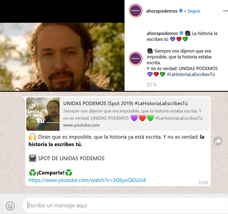 Capturas de mismo contenido difundido por Podemos en dos canales diferentes, Instagram (arriba) y Whatsapp (abajo)