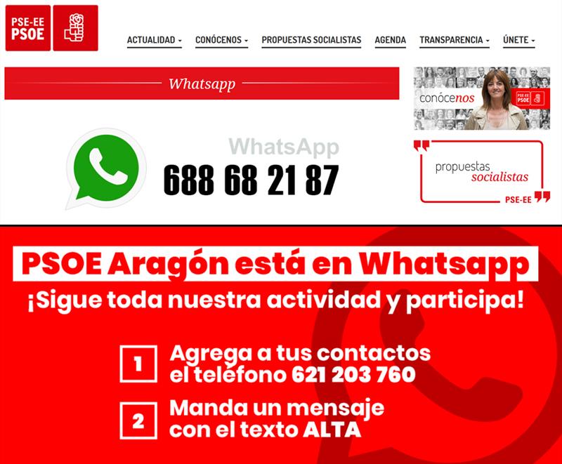 Pasarelas, diferentes, de País Vasco (arriba) y Aragon (abajo) para darse de alta en canales del PSOE
