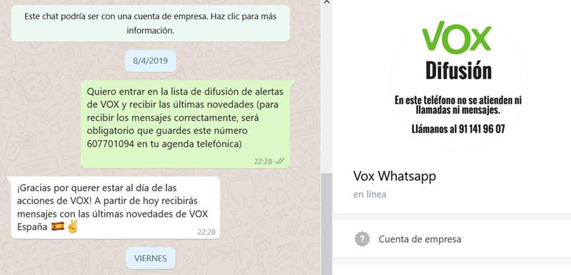 Primer mensaje de bienvenida de Vox