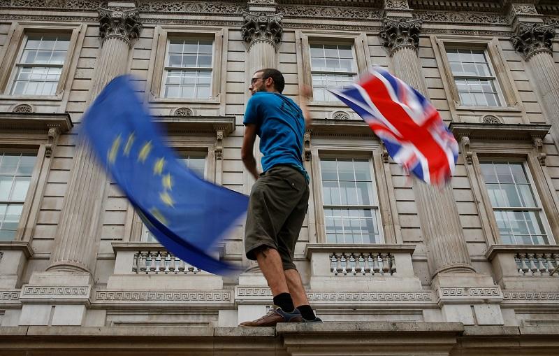 Manifestante anti-brexit, en la marcha de este fin de semana contra Boris Johnson en Whitehall, la zona de los edificios del Gobierno británico, en Londres. REUTERS/Henry Nicholls