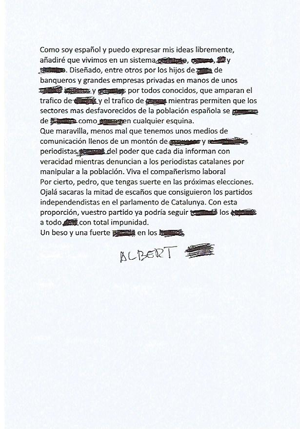 Carta de Albert Pla.