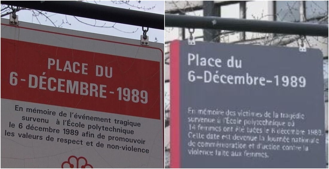 """El antiguo (izq.) y el nuevo letrero (der.) en la Plaza 6 de diciembre de 1989 de la ciudad canadiense de Notre-Dame-de-Grâce, en recuerdo de las 14 jóvenes asesinadas en un """"ataque antifeminista"""" en la Escuela Politécnica de Montreal."""