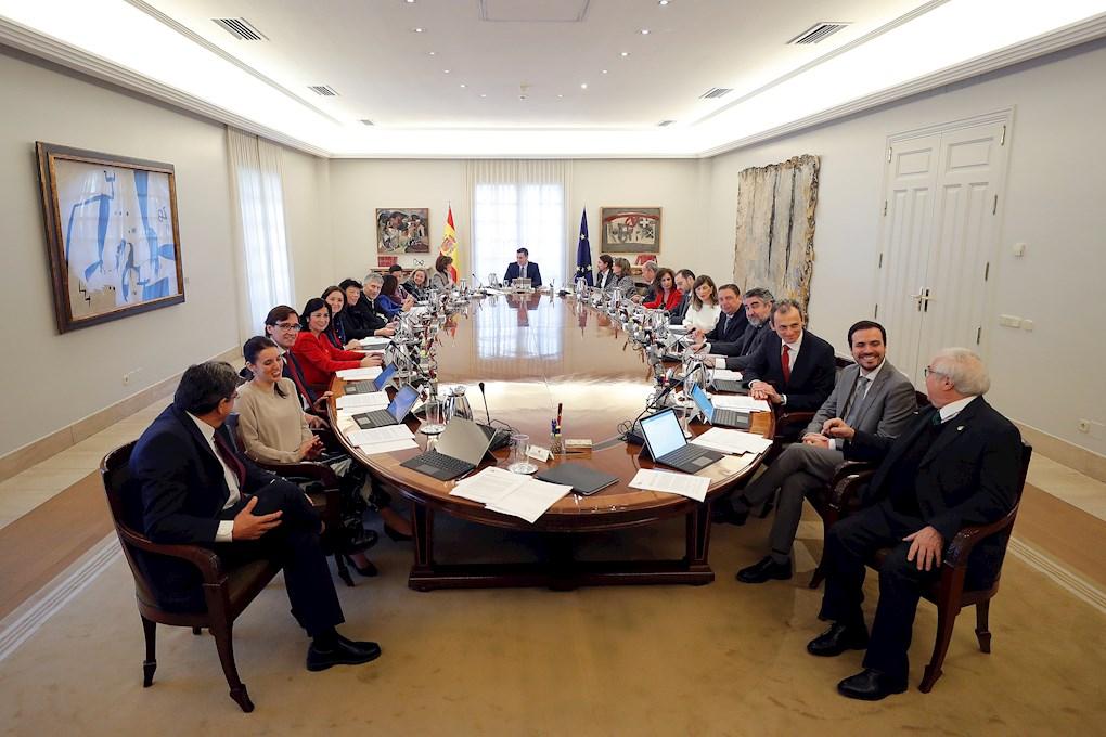 Vista de la primera reunión del Consejo de Ministros del Gobierno de coalición de PSOE y Unidas Podemos. POOL