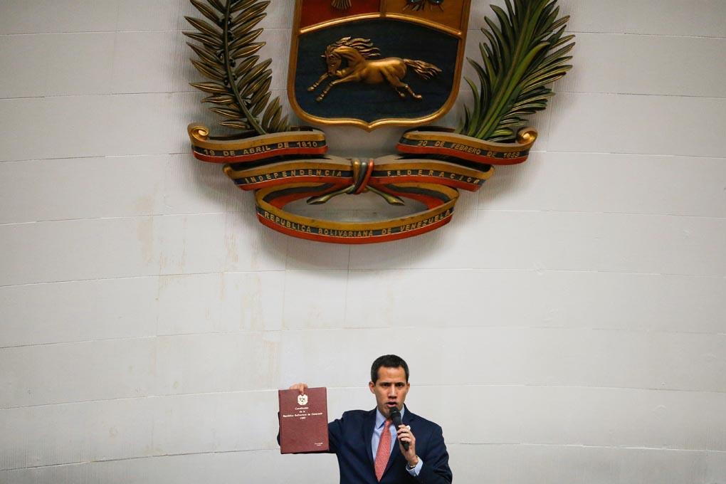 El líder opositor venezolano y autoproclamado presidente, Juan Guaidó, durante una sesión extraordinaria de la Asamblea Nacional de Venezuela en Caracas. REUTERS / Manaure Quintero