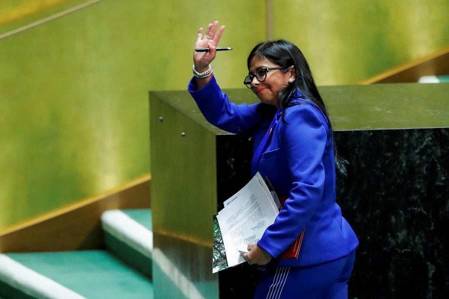La vicepresidenta de Venezuela, Delcy Rodriguez, tras intervenir en la Asamblea General de la ONU, en septiembre de 2019. REUTERS/Eduardo Munoz