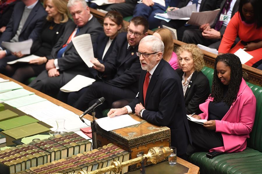 El líder del Partido Laborista británico, Jeremy Corbyn, en el Parlamento. EFE/EPA/JESSICA TAYLOR/UK PARLIAMENT