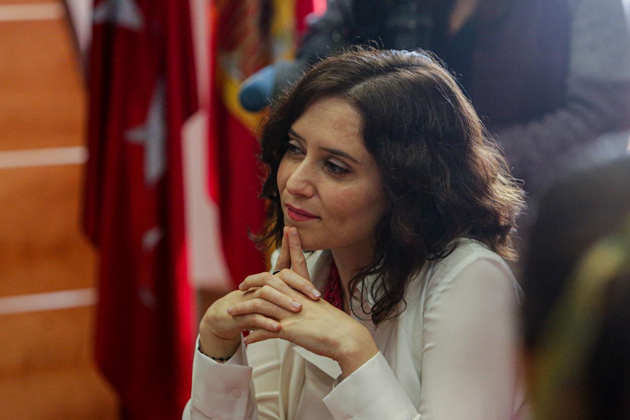 La presidenta de la Comunidad de Madrid, Isabel Díaz Ayuso durante la reunión del Consejo de Gobierno autonómico celebrado en la localidad de Pozuelo de Alarcón. E.P./Ricardo Rubio