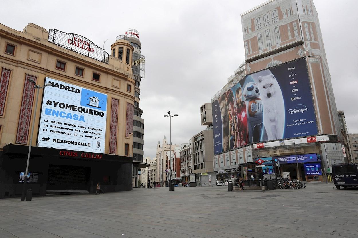Vista de la Plaza de Callao vacía en Madrid. EFE/Kiko Huesca