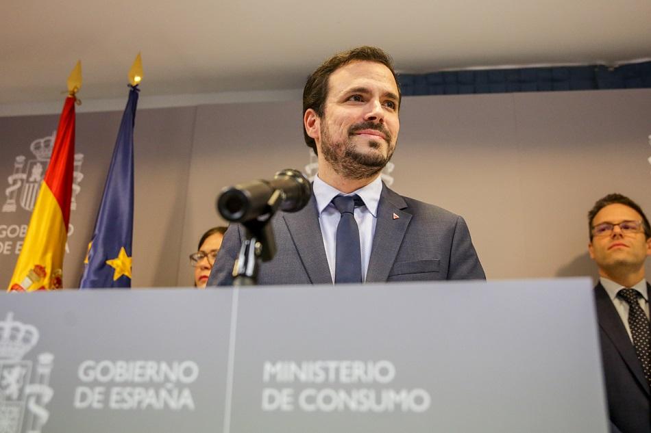 El ministro de Consumo, Alberto Garzón, durante la presentación del proyecto de Real Decreto sobre publicidad de las apuestas. E.P./ Ricardo Rubio