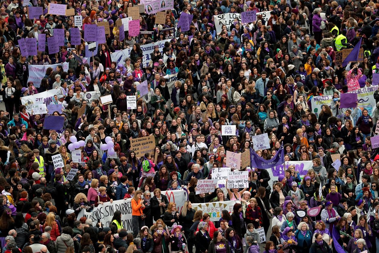 Vista de la manifestación del 8M, en Madrid. REUTERS/Susana Vera