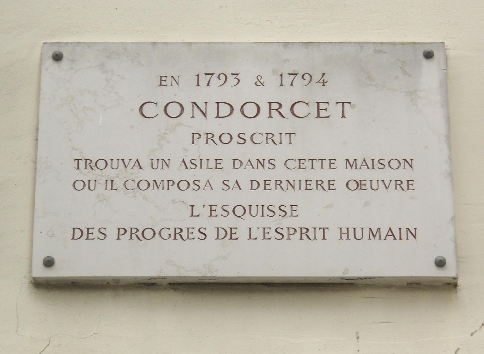 Placa conmemorativa en París en la vivienda de Nicolas de Condorcet.