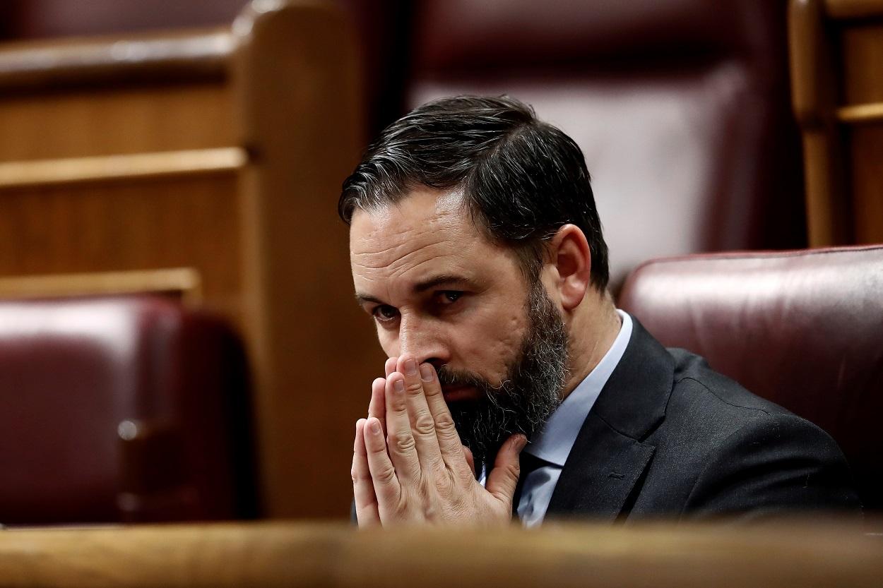 El líder de Vox, Santiago Abascal, durante el pleno celebrado este miércoles en el Congreso. EFE/Mariscal