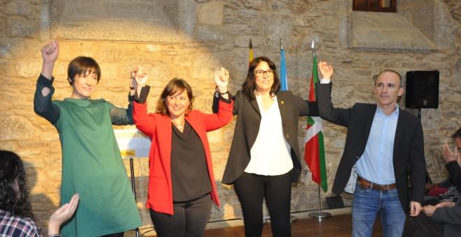 """BNG, Bildu y ERC, cuando presentaron su coalición para las europeas con una llamada a """"frenar el fascismo"""" y la """"represión""""."""