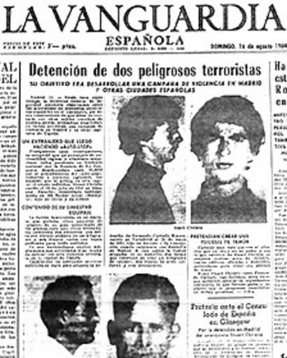 Recorte de prensa de la detención de Stuart Christie en Madrid.