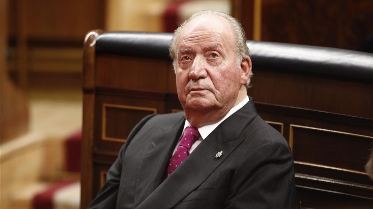 El rey emérito de España, Juan Carlos I, en el Congreso, durante el acto conmemorativo del 40 aniversario de la Constitución, el 6 de diciembre de 2018. E.P.