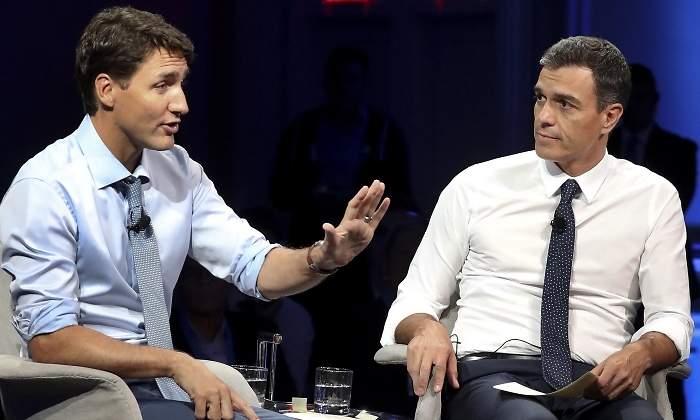 El primer ministro canadiense, Justin Trudeau (i), y el presidente del Gobierno español, Pedro Sánchez, en una imagen de archivo. EFE