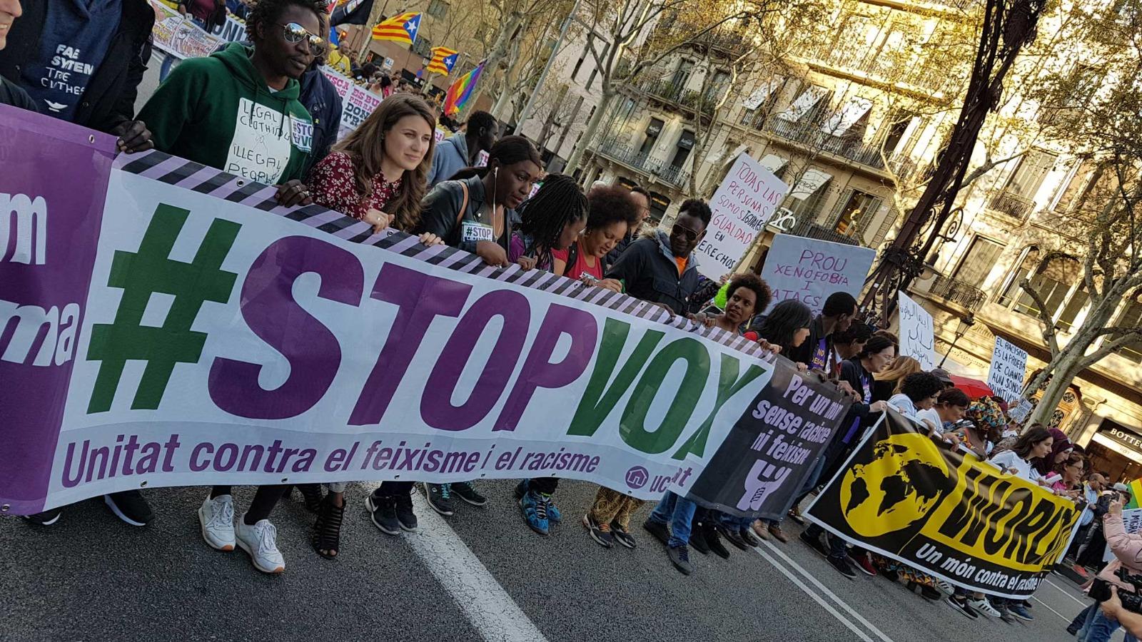 Manifestación en Barcelona convocada por la UCFR en Barcelona, en marzo de 2019, en el marco de la jornada internacional contra el racismo y fascismo, WorldAgainstRacism.