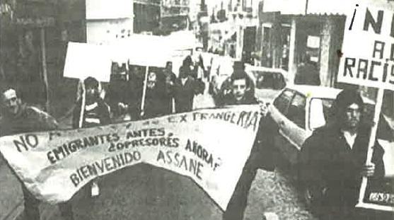 Manifestación contra la deportación del joven senegalés Assane Dieng, tras la huelga general del 14-D.