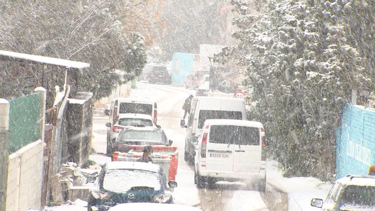 Imagen de la nevada en la Cañada Real Galiana (Madrid) E.P.