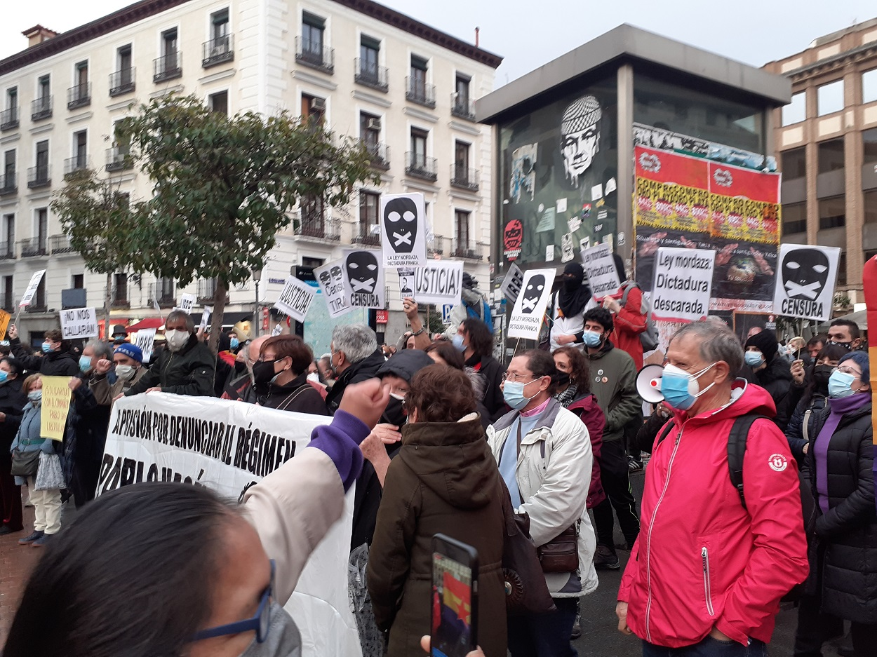 Imagen de la concentración en Madrid celebrada el pasada sábado en solidaridad con Pablo Hásel.